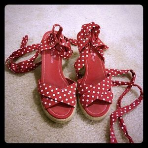 Red polka dot lace up sandals-SALE!!!!
